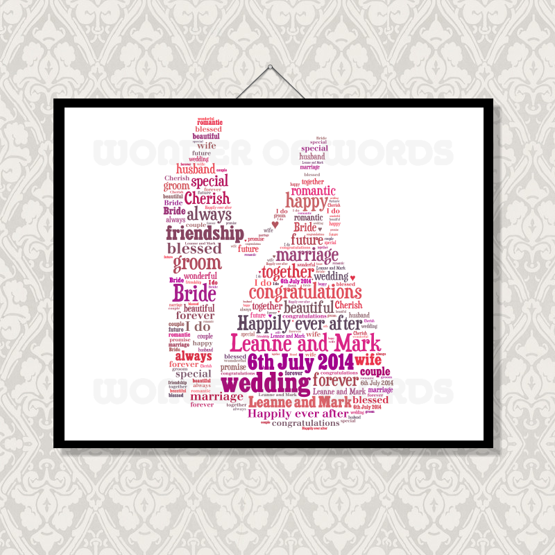 Wedding Word Cloud | Word Art | Unique Gifts | Wonder of Words